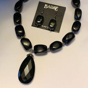 Gorgeous new signed bars black onyx necklace